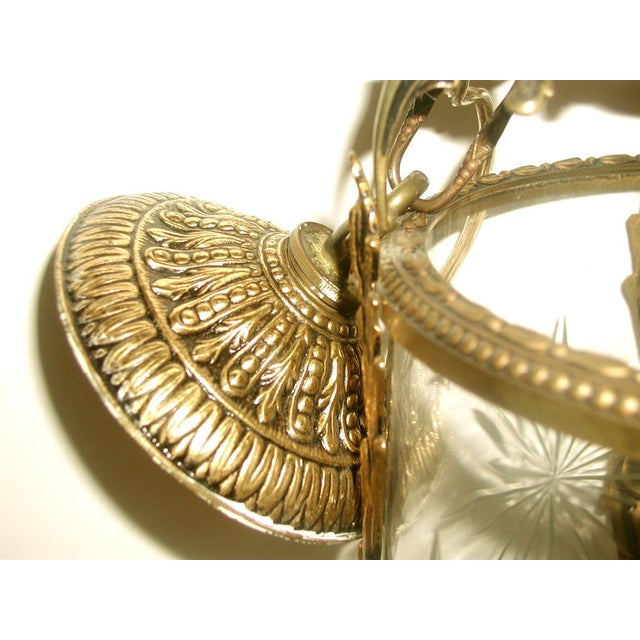 Etched & Rewired German Crystal/Bronze Fixture - Image 7 of 10