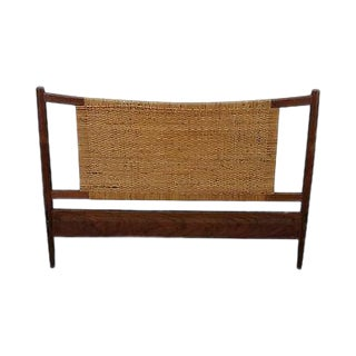 Danish Modern Teak Cane Back Headboard (A) For Sale