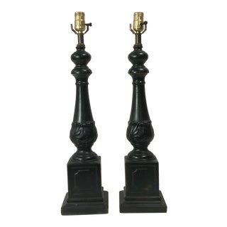 Black Neoclassical Style Table Lamps - a Pair For Sale