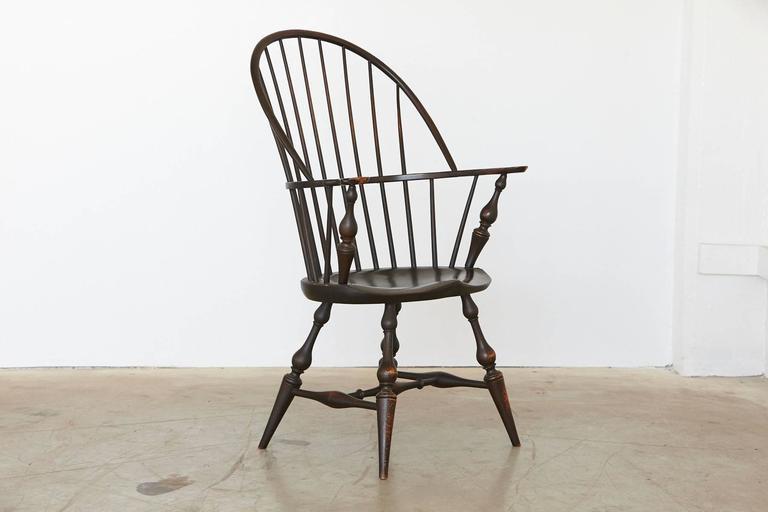 World Class Vintage Bowback Windsor Armchair In Black Le Maple