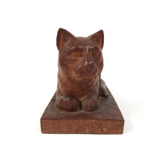 Folk Art Hand Carved Wood Cat Sculpture For Sale - Image 4 of 12