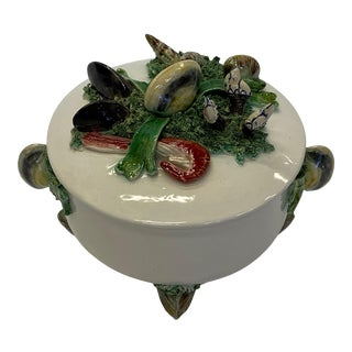 French Majolica Covered Serving Dish With Clam Shell Decoration For Sale
