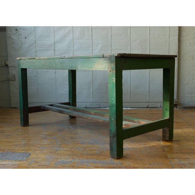 1910s Large French Industrial Wooden Table With Green Paint For Sale - Image 5 of 10