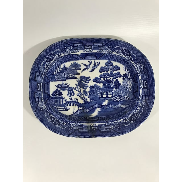 Blue Antique Blue Willow Porcelain Oval Platter For Sale - Image 8 of 8
