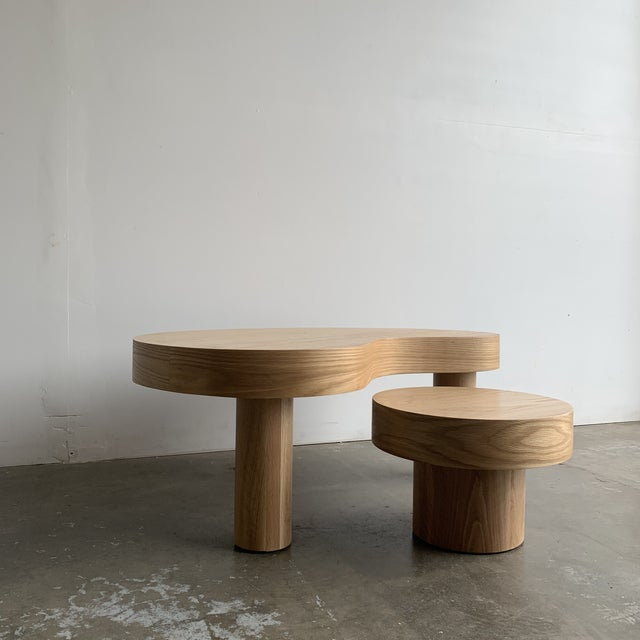2020s 1980s Style Kidney Two Tiered Coffee Table - a Pair For Sale - Image 5 of 13