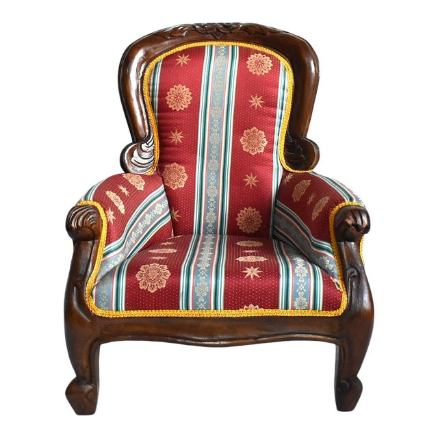 Antique Victorian-Style Upholstered Child's Chair For Sale
