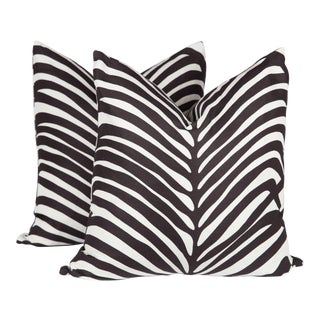 Schumacher Zebra Palm Pillows - A Pair
