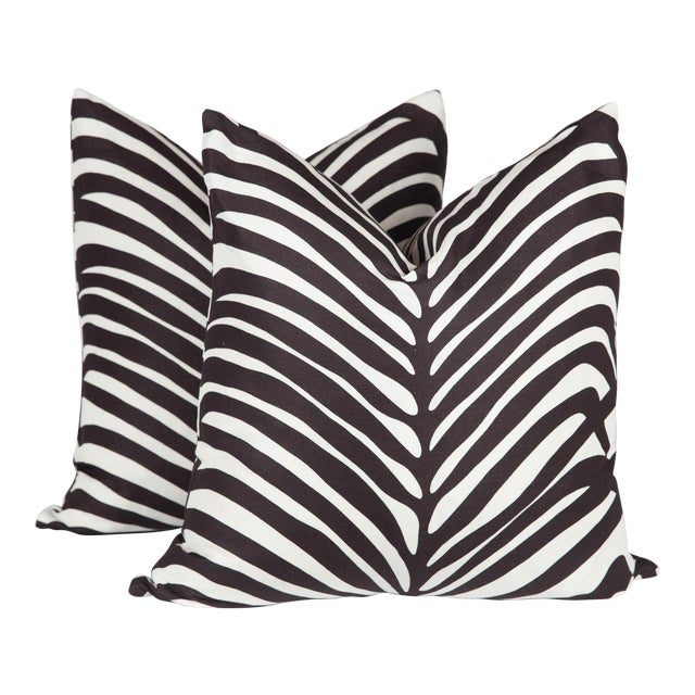 Schumacher Zebra Palm Pillows - A Pair For Sale