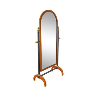Century Biedermeier Style Cherry Wood Black & Brass Cheval Mirror For Sale