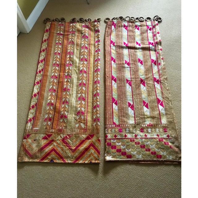Antique Indian Phulkari Fabric Panels - A Pair - Image 12 of 12