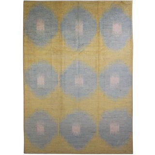 "Hand Knotted Ikat Rug - 11'10"" X 9'5"" For Sale"