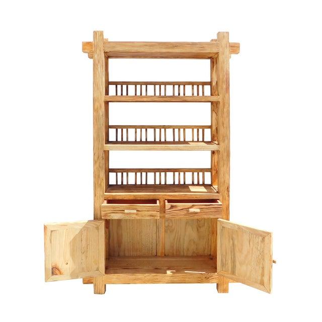 Rustic Raw Wood Open Shelf Bookcase - Image 4 of 6