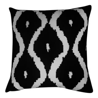 Modern Ogee Embroidered Geometric Pillow For Sale