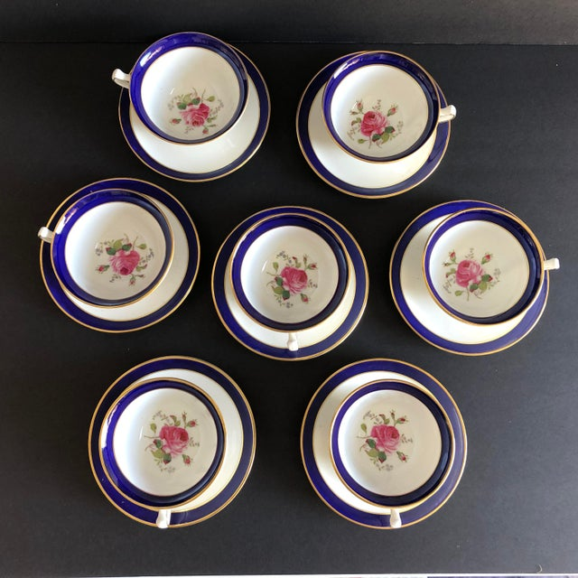 French Elegant Vintage Rose Design English Bone China Set of 7 Tea/Coffee Cups & Saucers For Sale - Image 3 of 8