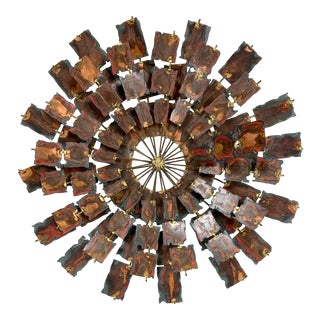 Mid-Century Copper Starburst Sunburst Sculpture Wall Art For Sale