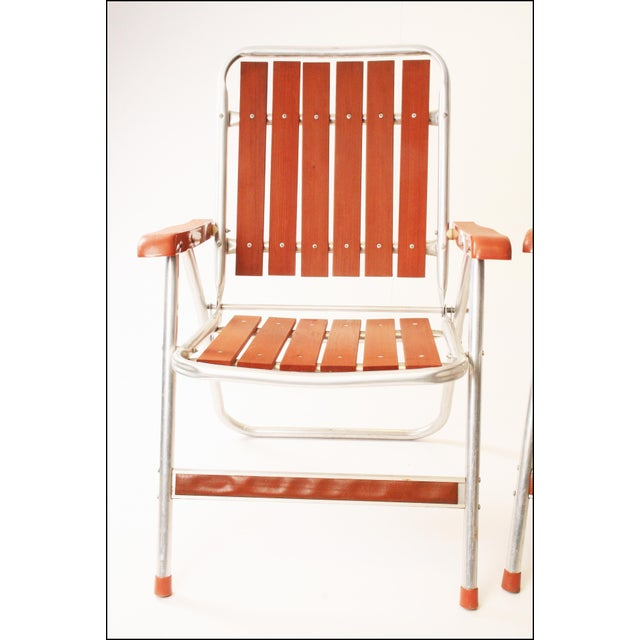 Aluminum Vintage Redwood & Aluminum Folding Patio Chairs - A Pair For Sale - Image 7 of 11