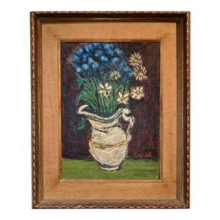1930s Floral Still Life Oil Painting on Canvas, Signed L.R Ben-Zion (American, 1897-1987) For Sale