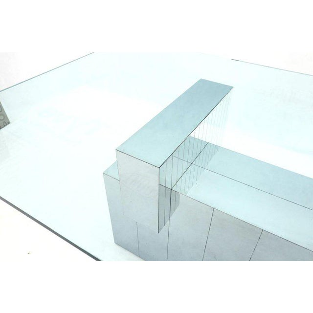 Metal Paul Evans for Directional Large Chrome Glass Top Dining Conference Table For Sale - Image 7 of 13