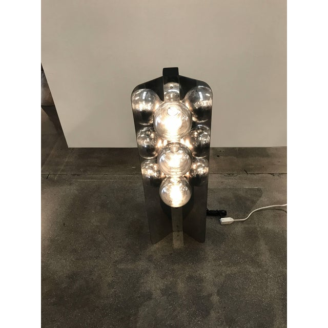 Black Chrome Lamp With Three Large Bulbs For Sale - Image 8 of 10