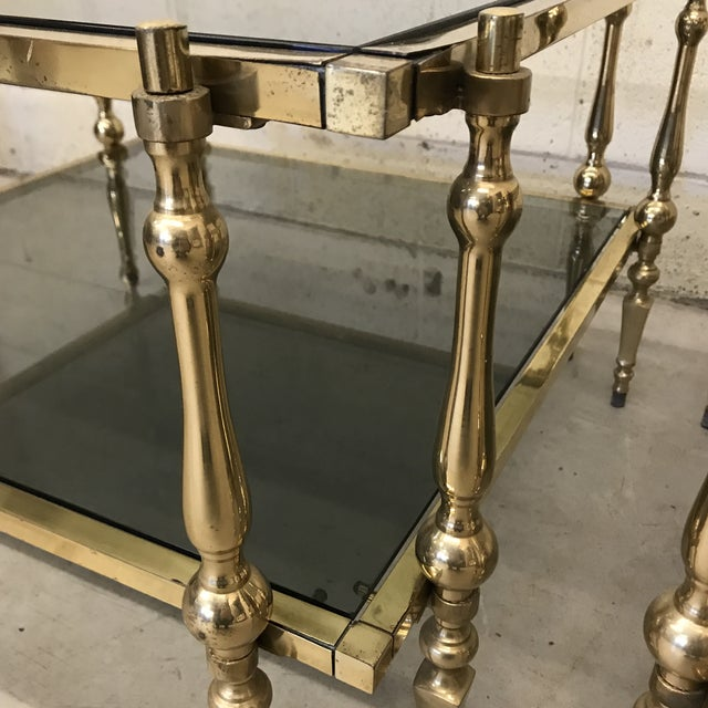 1970s Italian Smoked Glass & Brass End Tables For Sale - Image 5 of 11