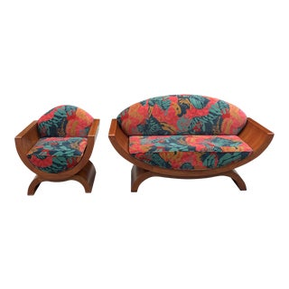1940s French Art Deco ''U'' Settee & Chair - Set of 2 For Sale