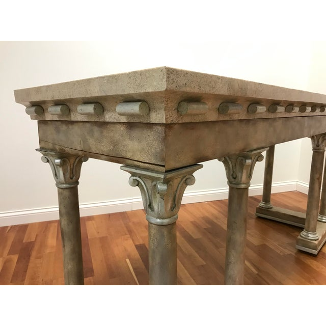 Neoclassical 1970s Maitland-Smith Console Sofa Table Tessellated Neoclassical Fossil Stone and Marble For Sale - Image 3 of 10