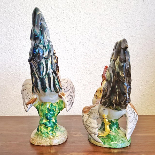 """1950s """"Fighting Cocks"""" Figurines by Urbano Zaccagnini (Pair) Florence, Italy For Sale - Image 5 of 10"""