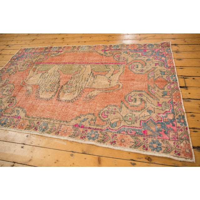 "Cotton Vintage Distressed Oushak Rug - 4'6"" X 6'11"" For Sale - Image 7 of 11"