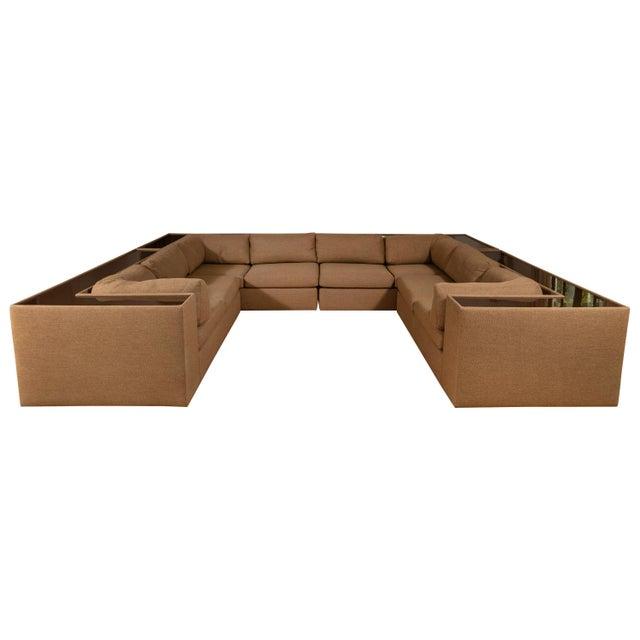 Four-Piece Milo Baughman Sectional Sofa with Original Polymer Shelf Back For Sale - Image 12 of 12