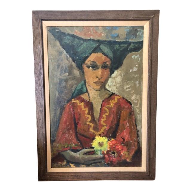 Vintage Painting Portrait by Joe Van Cleave For Sale