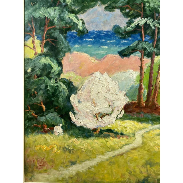 """Jens Aabo """"Danish Coastal Pathway"""", Impressionist Oil Painting, 1956 For Sale - Image 4 of 13"""
