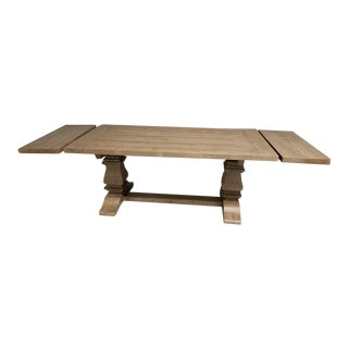 Rustic Restoration Hardware Salvaged Wood Trestle Rectangular Extension Dining Table For Sale