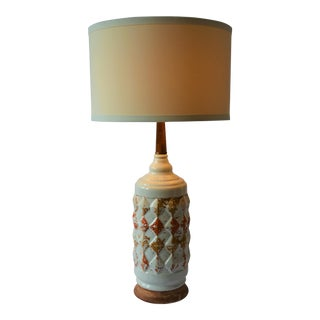 1960s Mid-Century Modern Harlequin Patterned Orange and White Ceramic Table Lamp