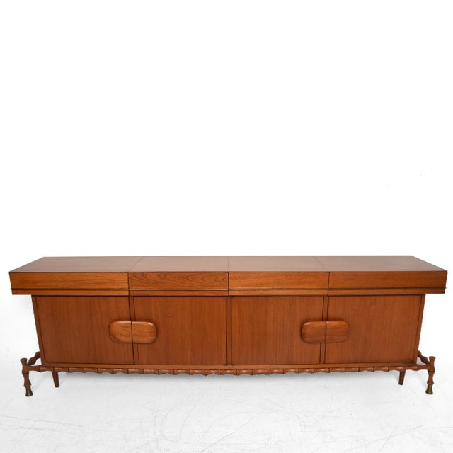 For your consideration a beautiful floating credenza. (Beautiful faux bamboo details). Made of Mexican Mahogany and brass....