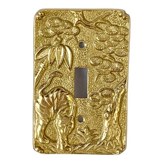 Vintage Brass Chinoiserie Light Switch Cover For Sale