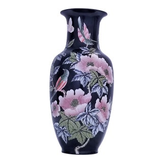Vintage Ceramic Porcelain Chinese Contemporary Vase With Birds and Flowers - Asian Boho Chic Haute Bohemian Tropical Coastal