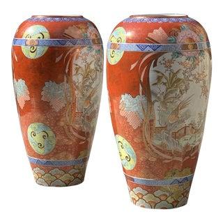 Monumental Antique Japanese Kutani Vases - a Pair For Sale
