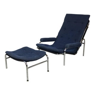 Bruno Mathsson Mid-Century Modern Lounge Chair and Ottoman For Sale