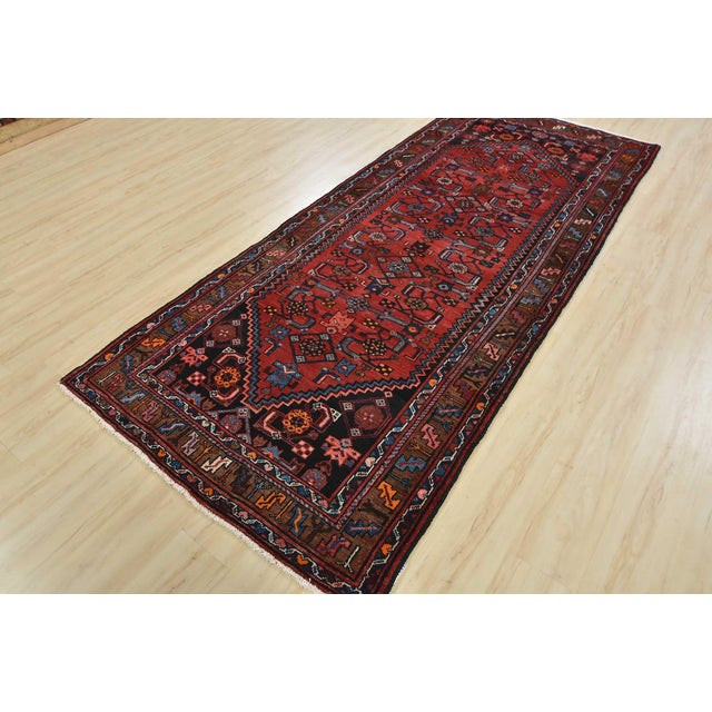 Tribal Vintage Persian Hamadan Runner - 4'2'' X 10' For Sale - Image 3 of 13