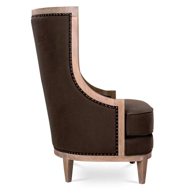 Royale Wing Chair in Brown For Sale - Image 4 of 5