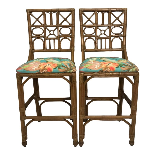 1960s Rattan Bar Stools With Carved Pineapple Feet - a Pair For Sale