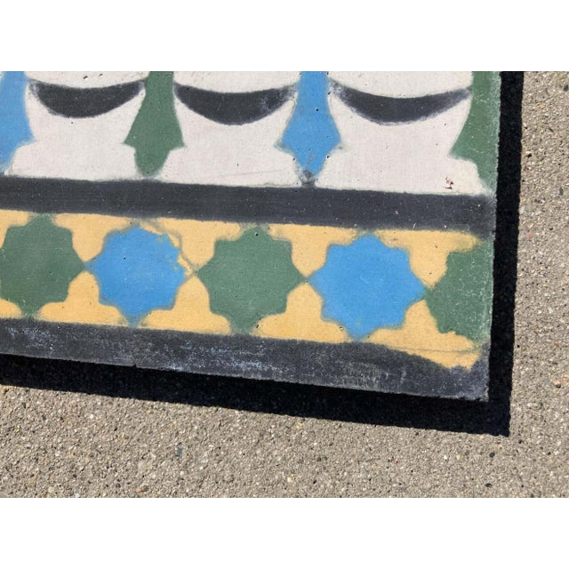 Moroccan Encaustic Cement Tile Border with Moorish Fez Design For Sale - Image 4 of 13