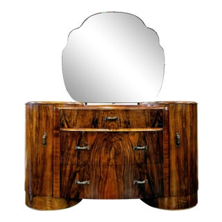 Shrager Brothers Masterpiece Furniture London Burl Walnut Art Deco Vanity With Mirror For Sale