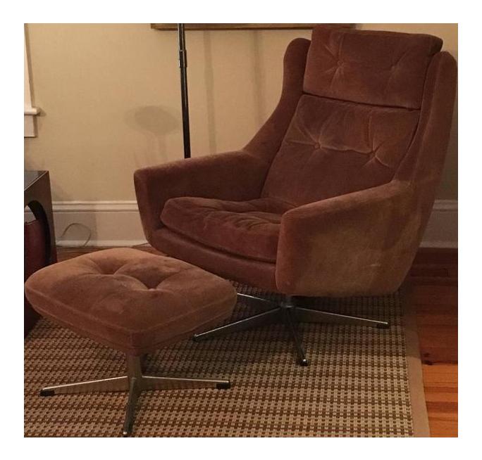 Scandinavian Modern Reclining Swivel Suede Lounge Chair U0026 Ottoman By John  Stuart