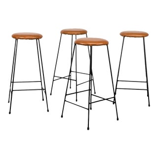 Set of Four Iron Barstools with Caramel Leather Seats, 1960s For Sale