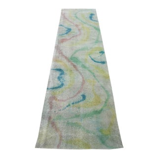 "Modern Green Coloful Contemporary Runner Distressed Wool 3'2"" X 12'4"" For Sale"