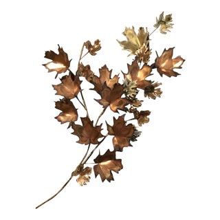 1970s Curtis Jere Maple Leaf Branch Wall Sculpture For Sale