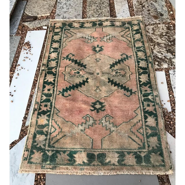 """Textile Hand Made Vintage Tribal Turkish Runner Rug With Greens and Peach 2'9""""x4'2"""" For Sale - Image 7 of 10"""
