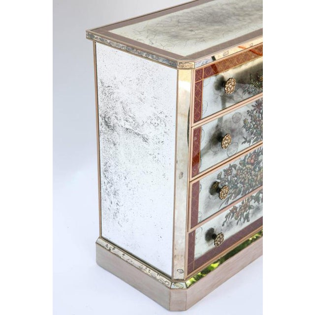 1940s Églomisé Mirrored Chest of Drawers - a Pair For Sale - Image 4 of 13