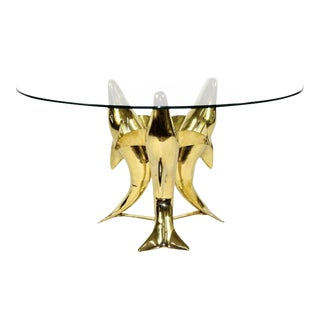 Brass Diving Dolphin Cocktail Table For Sale